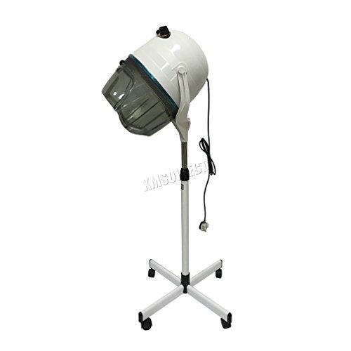 FoxHunter HHD-01 1000W - Secador de casco de pie para salón de peluquería con temporizador y temperatura ajustable, color blanco