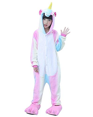 MissFox Unisexe Combinaison Kigurumi Pyjama Enfants Anime Cosplay Fête Costume Nuit Vêtements Pégase Rainbow 105