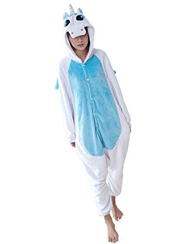 Triseaman Unisex Erwachsene Halloween Kigurumi Pyjamas Tier Onesie Blue Unicorn (Kostüm Maske Kigurumi)