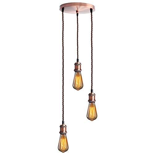 KINGSO E27 Lampenfassung mit drei Fassungen Edison Pendelleuchte Hängelampe Halter DIY Lampe Zubehör im Vintage-Stil mit braunemTextilkabel & Baldachin mit Zertifikat Rot Bronze
