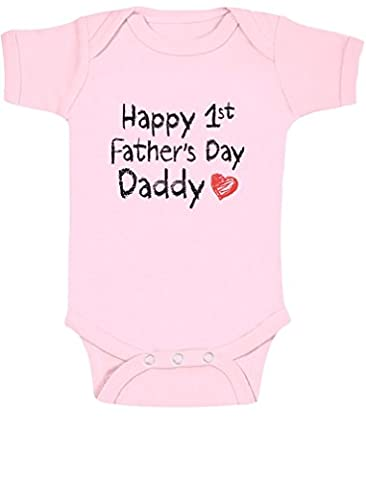 Happy 1st Father's Day Daddy Father's Day Gift For New Dad Babygrow Vest Baby Onesie 18M Pink