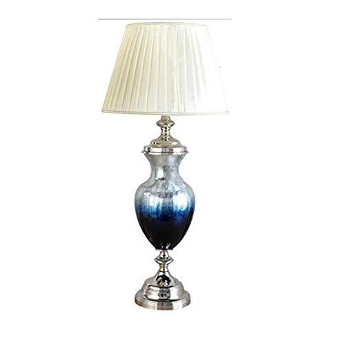 ZHAO YING Led Nordic Moderne Möbel Zubehör Stoff Tischlampe Schlafzimmer Nachttischlampe Schreibtischlampe Glastischlampe Wohnaccessoires Dekoration (Color : Blue) - Schlafzimmer-möbel-zubehör