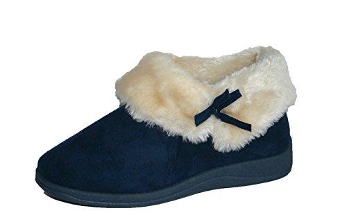 Donna Dunlop Bessie Pelliccia Finta Con Colletto Alla Caviglia Pantofola A Stivale Navy