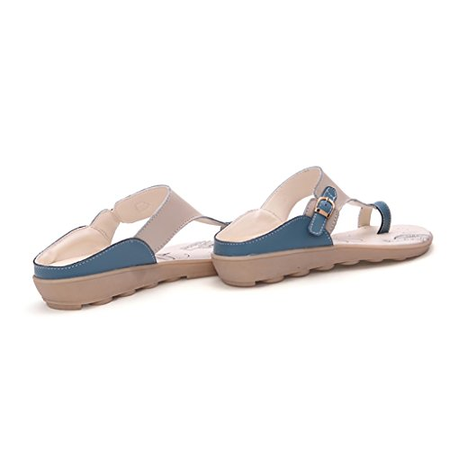 PENGFEI sandali delle donne Pantofole estive Beach flip flops Beach Femmina Leisure semplice Sandali piatti antisdrucciolo Blu, arancio e giallo Confortevole e traspirante ( Colore : Giallo , dimensio Blu