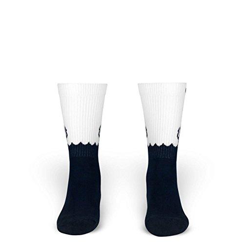 Moses | Socken von ROCKASOX | Weiß, Blaue Wellen & Neptuns Dreizack | knöchelhoch | Unisex Strümpfe Size L (Freestyle Disco Tanzen Kostüme)
