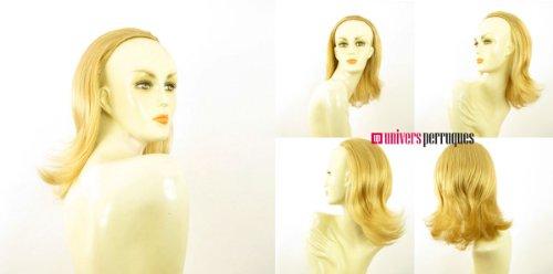 Demi-tête, demi-perruque mi-longue lisse 40 cm blond clair doré ref 018 en lg26
