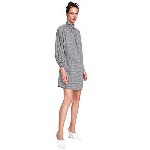GQJQWE Einfaches Kariertes Kleid Stretch Stehkragen Plissee dekorative Tutu Langarm A-Wort beiläufige lose kurzes Kleid -