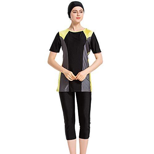 XDXART Frauen Modest Muslim Badeanzug für Frauen Einteilige Tops Hat Kurze Hose Bademode Kurzarm Bademode Islamisches Kostüm (Black, - Black Top Hats Kostüm