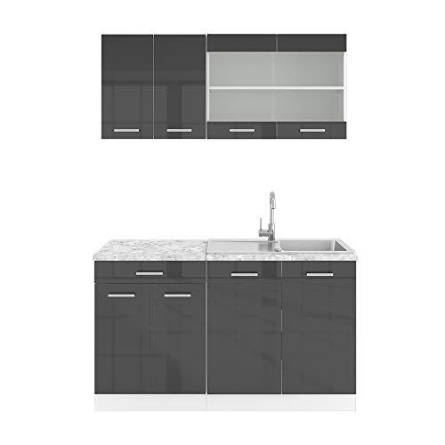 Vicco Küchenzeile Single Einbauküche 140 cm Küchen Hochglanz R-LINE (Anthrazit Hochglanz)