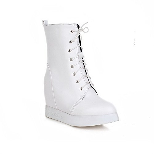 AgooLar Damen Niedriger Absatz Niedrig-Spitze Rein Ziehen auf Stiefel, Weiß, 36