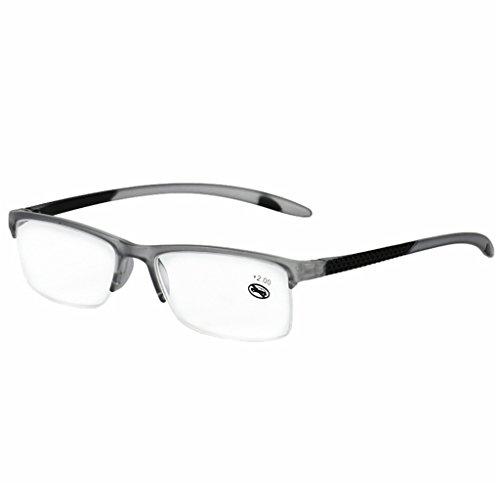 Fogun Lesebrillen, die überall haften, Sie überall begleiten, Halbrandbrille Stärken Breit Lesebrill (Grau, 1.75)