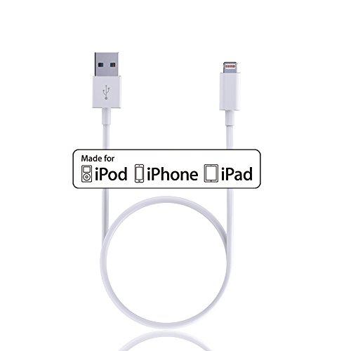 NOWTAO SparkPlus Certificato Apple MFi Cavo USB a Lightning Extra Lungo per iPhone 5 6 7 plus SE,iPad 4th mini air pro - 2m(6,5ft) x1 Pezzo (Bianco) Bianco