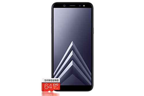 Samsung Galaxy A6+ Smartphone Bundle (6,0 Zoll, 32GB interner Speicher) + Samsung EVO Plus 64 GB Speicherkarte - Deutsche Version
