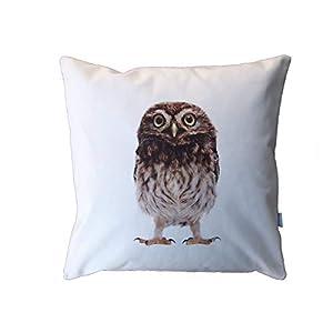 Eulen Kissen, 40×40 cm Hülle, Baumwolle und Leinen, Natur, Vogel Motiv, Deko, Sofa, Garten