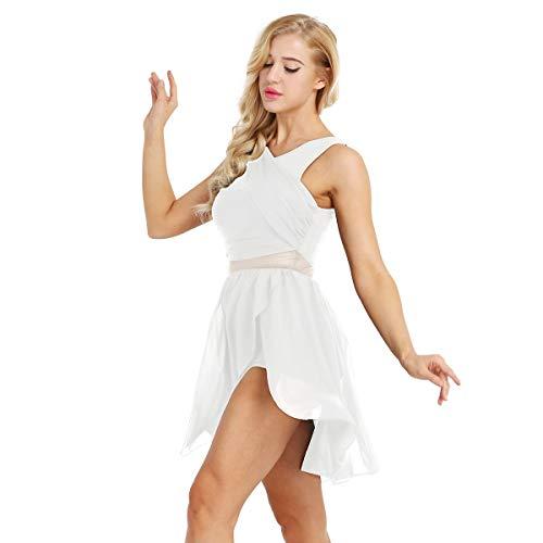 Freebily Damen Chiffon Kleid Ärmellos Tanzkleid Asymmetrisch Ballettkleid Ballett Trikot Jumpsuit Overalls Tanz-Body Gymnastikanzug Latin Tango Kleid Kostüm Weiß - Tanz Outfits Und Kostüm