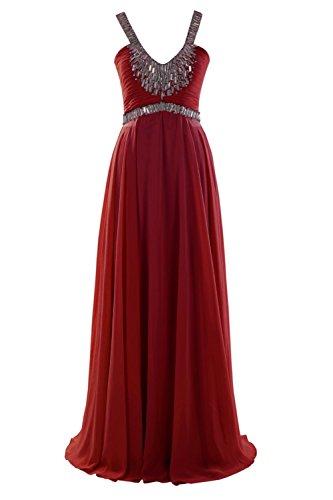 YiYaDawn Lange Glamourüse Abendkleider Ballkleider mit Schnürung für Damen Weinrot