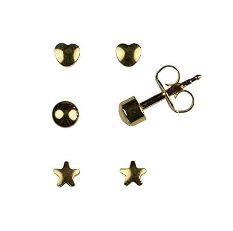 Mytoptrendz® Sterilized Hypoallergenic Stud Earrings 24K Gold Tone Ear Piercing Surgical Steel Multi-Shape Stud Earrings (Set Of 3 1 each Heart Ball and Star shape)