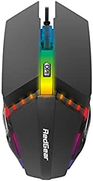 Redgear A-10 Wired Gaming Mouse with LED, Lightweight, Durable and DPI Upto 2400 for Windows PC Gamers.