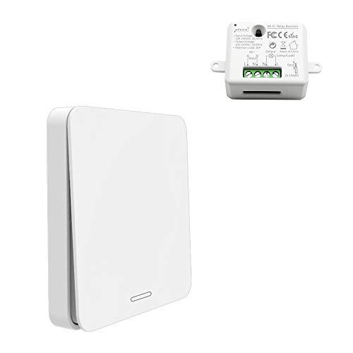 Funkschalter Set - Kinetischer Batterieloser Schalter mit Empfänger Drahtlose Ein/Aus Schaltung von Geräten bis 2500W, 200m Funkreichweite f. Auf-/Unterputz Innen-/Außenbereich -