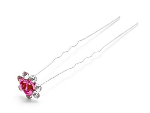 Accessoires cheveux coiffure mariage 1 épingle à chignon fleur à strass rose