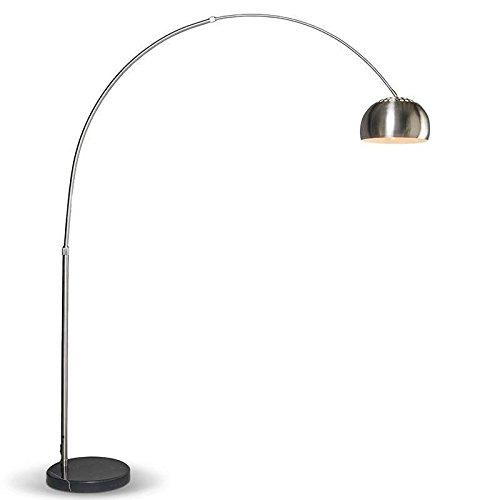 QAZQA Moderne Lampe à arc Grande Acier inoxydable Acier Rond/Luminaire/Lumiere/Éclairage/intérieur/Salon