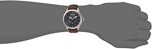Invicta Men's 'Aviator' Quartz Stainless Steel and Leather Casual Watch, Color Brown (Model: 22973)