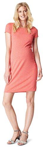 SET - Noppies Umstandskleid Schwangerschaftskleid Stretchkleid Schlauchkleid Benja kurzärmlig coral Gr. 40 + Babytuch Baumwolle 80 x 60 cm