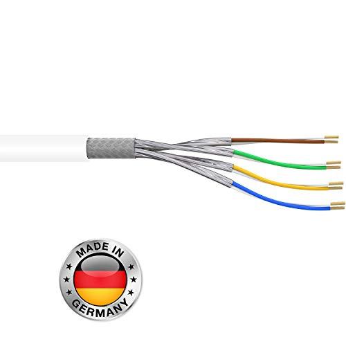 Leoni Home CAT.7 15m Verlegekabel CAT7 Netzwerkkabel Installationskabel Datenkabel weiß Datenleitung Ethernet Kabel Kat.7 S/FTP Gigabit 10Gbit Netzwerkkabel cat 7 ethernet Kabel PIMF Kabel -