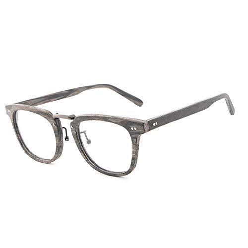 Easy Go Shopping Handgefertigte Platte Holzmaserung Retro Rahmen Myopie Brille Große runde Rahmen Brille Unisex Plain Brille Sonnenbrillen und Flacher Spiegel (Color : 01Gray, Size : Kostenlos)