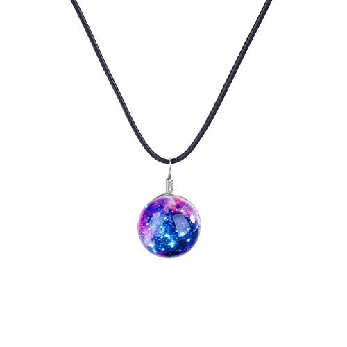 lskette doppelseitige Glaskugel Paar leuchtende Halskette Sternenhimmel Edelstein Anhänger ()
