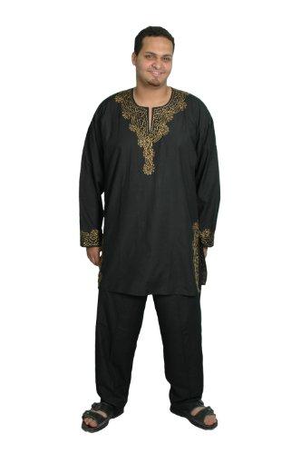 Dreiteiliges Herren-Salwar-Kameez- Set im Pakistani-Stil, Größe: XL, schwarz (Hose Kameez)
