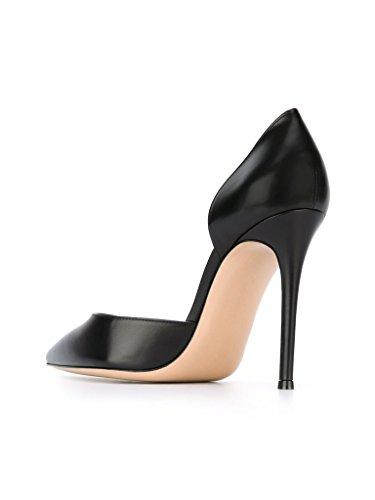Chaussures Bout Pointu Aiguille Noir 10cm Haut Escarpins Enfiler Talon A EDEFS Femme YxwqUvYS