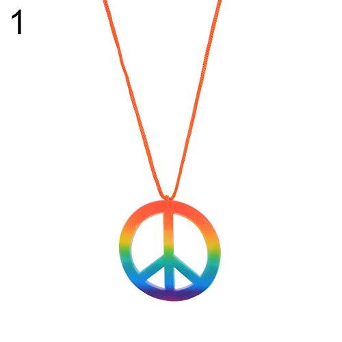 Renendi Halloween-Requisiten buntes Peace-Symbol Anhänger Halskette Ohrringe Party Maskerade Dekoration für Frauen Herren Kleid Supplies #1
