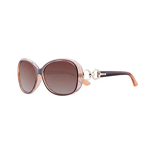 Honey Polarisierte Sonnenbrille der hohen Qualitäts-Frauen - voller UV400 Schutz - Qualitäts-Metalldekoration (Farbe : Elegant Tea Color)