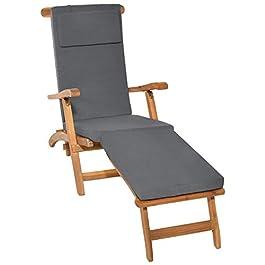 Beautissu Coussin Bain de Soleil Loftlux DC – Coussin transat Chaise Longue 175x45x5cm Bleu – Matelas Bain de Soleil…