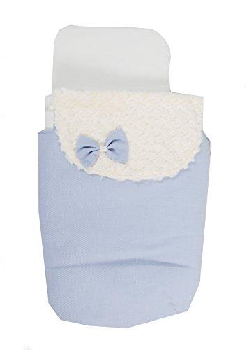 Saco Capazo 3 USOS- Carrito bebe ( Saco + colchoneta + Colcha ) .Serie Dobby azul .Color azul