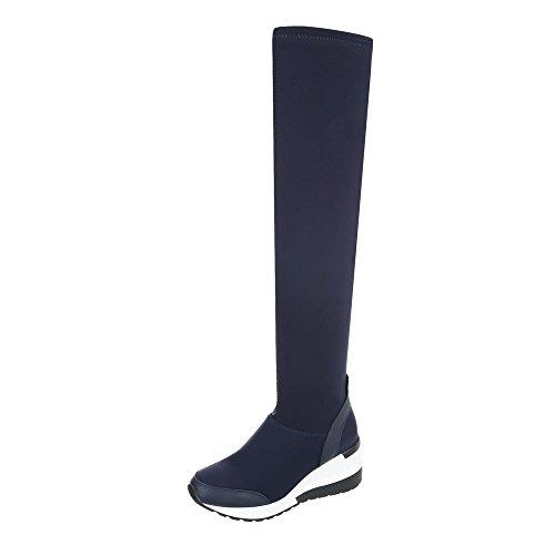 Ital-Design Keilstiefel Damen-Schuhe Keilstiefel Keilabsatz/Wedge Keilabsatz Reißverschluss Stiefel Dunkelblau, Gr 37, 2795-1-