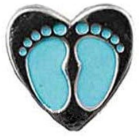 Argento a forma di cuore in argento sterling con ciondolo a forma di piedi di bambino con galleggianti Living memory lockets e Origami, motivo: gufo, lockets