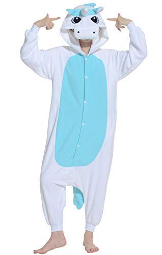 Karton Fasching Halloween Kostüm Sleepsuit Cosplay Overall Pyjama Schlafanzug Erwachsene Unisex Lounge Kigurumi Blau Einhorn for Höhe 140-187CM ()