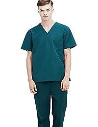 OPPP Abbigliamento medico Camice da Uomo a Maniche Corte per Uomo e Donna  Camice da Sala ea7c8aca355