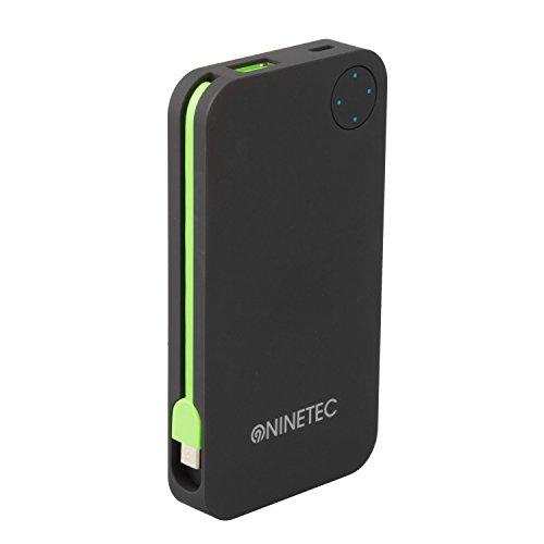 NINETEC NT-608 Powerbank / Akku Ladegerät 6000mAh Soft-Touch Oberfläche mit Micro-USB und USB Lade-Kabel für Apple iPhone, iPad, Samsung, HTC, Motorola, Sony Xperia, Nokia, PSP, LG, Kindle & viele weitere Geräte