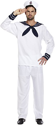 Mens Sailor Fancy Dress Stag Party Marine Navy Nautical by (Us Halloween Kostüm Navy)