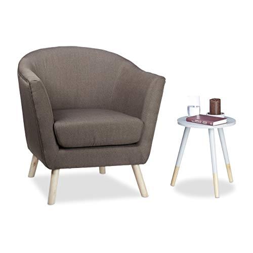 Relaxdays Cocktailsessel Retro, skandinavisches Design, weich, bequem, runder Relaxsessel, HxBxT: 81 x 78 x 70 cm, braun