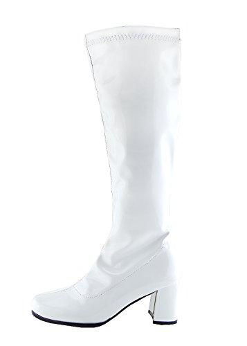 Block Ferse Lange Stiefel - UK 8/EU 41, Weiß ()