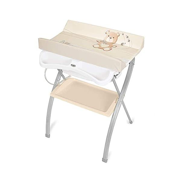 Changing Table Baby Changing Table Folding Newborn Care Station Portable Nursery Organizer Cross Leg Style Newborn Bathtub Massage Table (Color : Beige) Changing Table ●Size and Safe and Stable- L74 x W48 x H100cm,Suitable for babies weighing less than 25kg,With seat belt,Changing pad has a restraining strap for added safety and is made of easy to clean, soft ●2-in-1 design- Baby changing table can be used as baby massaging table as well. It is designed at the proper height of parent to prevent mom's back aches and pains from kneeling or bending when changing diapers to babies. ●Premium materials - Using high-quality materials for our 2 in 1 infant changing table,Reinforced metal,it is durable and stable for long time daily use,And easy to clean and maintain. 1