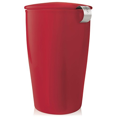 Brewing System Single (Tea Forté KATI Single Cup Loose Leaf Tea Brewing System, Insulated Ceramic Cup with Tea Infuser and Lid, Cranberry Red - NEW Infuser Design by Tea Forte)