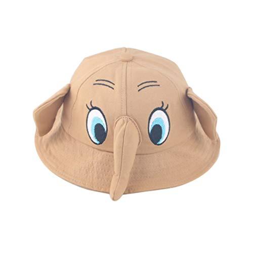 TENDYCOCO Sombrero para el Sol para niños Gorras con Forma de Elefante Borde de protección Ultravioleta ala Linda Divertida Visera Gorra Cubo para niños niños (Caqui)
