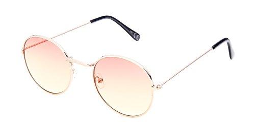 Sonnenbrille rund vintage gold silber 400UV getönt klar Metallgestell bunt 70er jahre unisex Damen Herren Brillen Klarglas Hippie Retro Trend Designer leicht verspiegelte Sonnenbrillen (orange gelb)