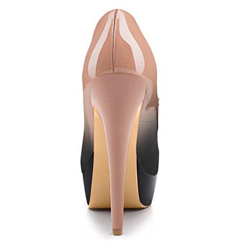 Damen Pumps Lackleder High-Heels Stiletto mit Plateau Rutsch Schwarzpink