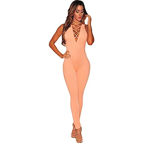 Donna Peach Lace Up V Collo Senza Maniche Tuta Catsuit Club wear taglia M 10 – 12